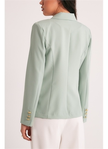 Robin Robin Cep Detaylı Kruvaze Ceket Mint Yeşil